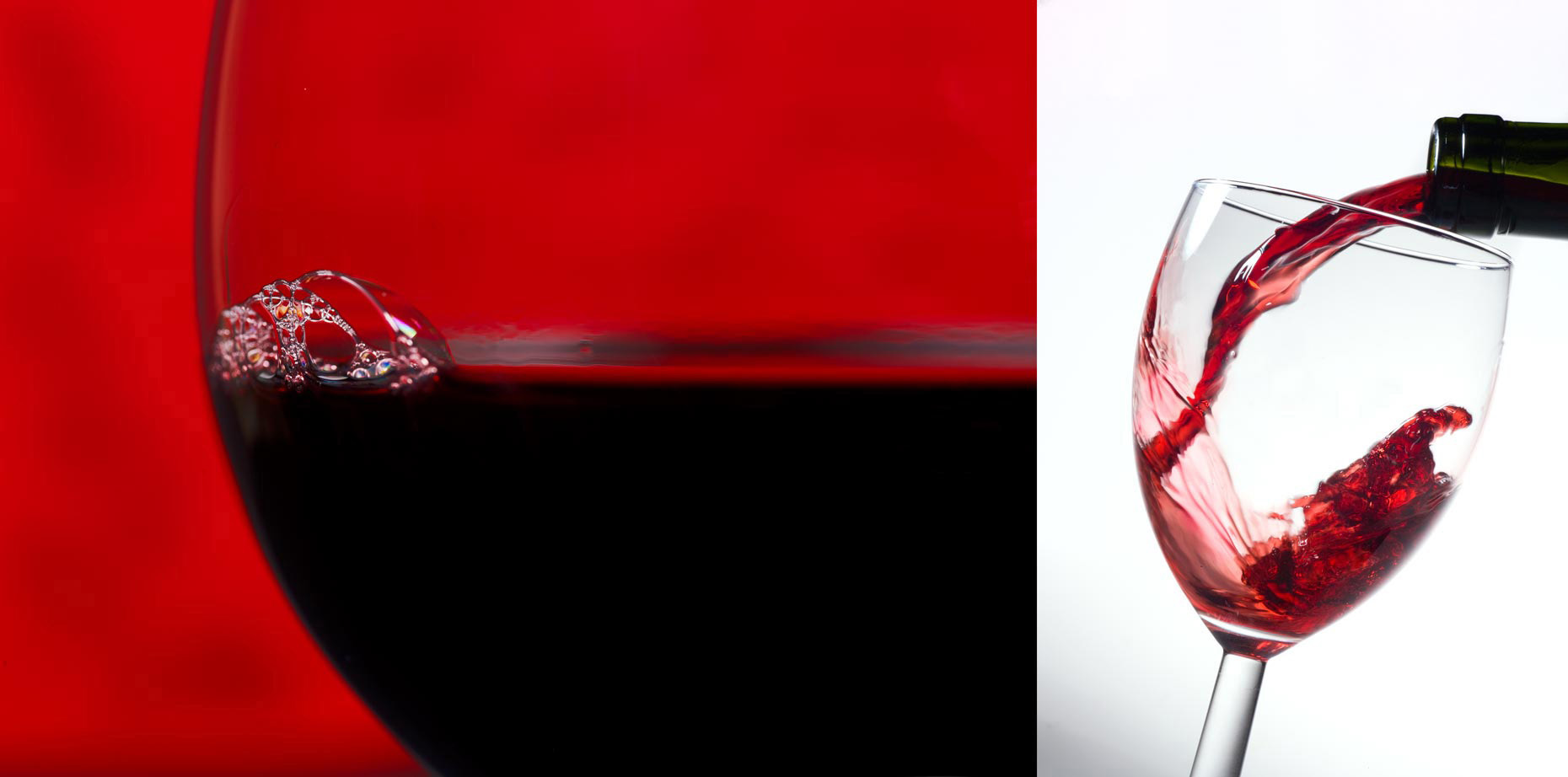 Beverage Photography | Red Wine Bubble & Red Wine Pour