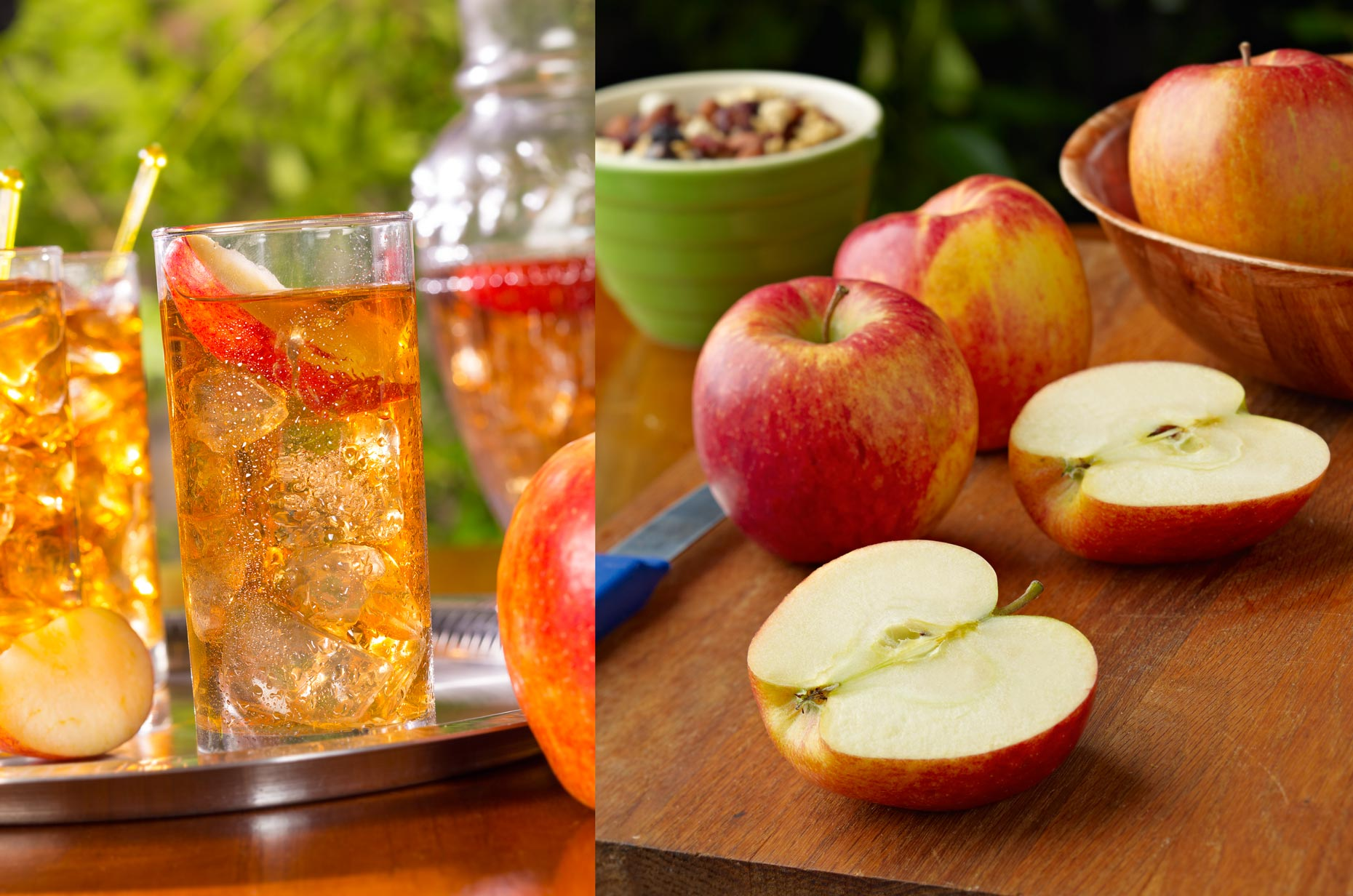 Beverage & Food Photography | Apple Juice Drink & Sliced Apples