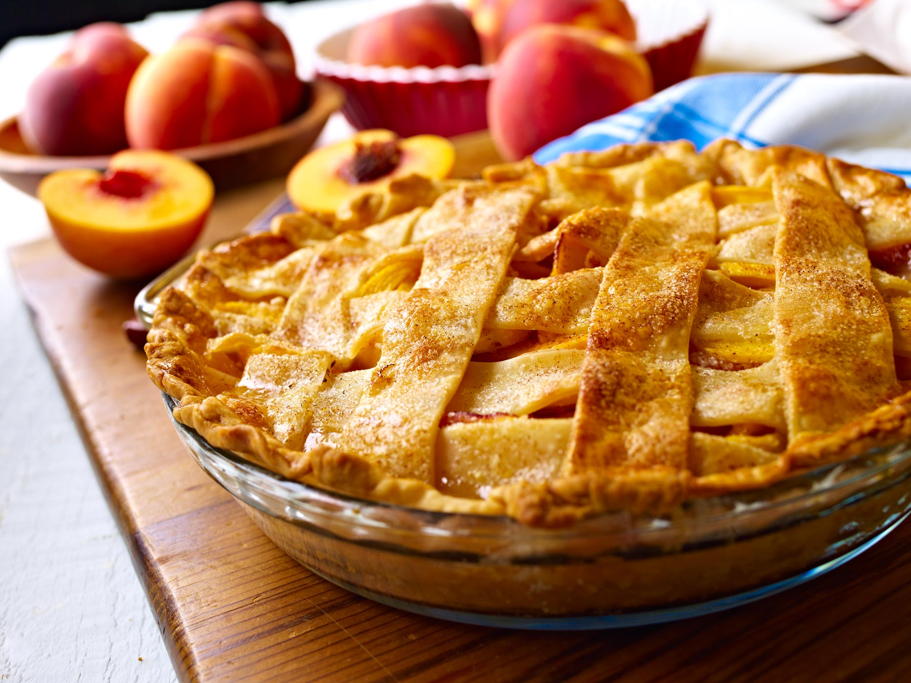 Dessert Photography | Peach Pie & Peaches