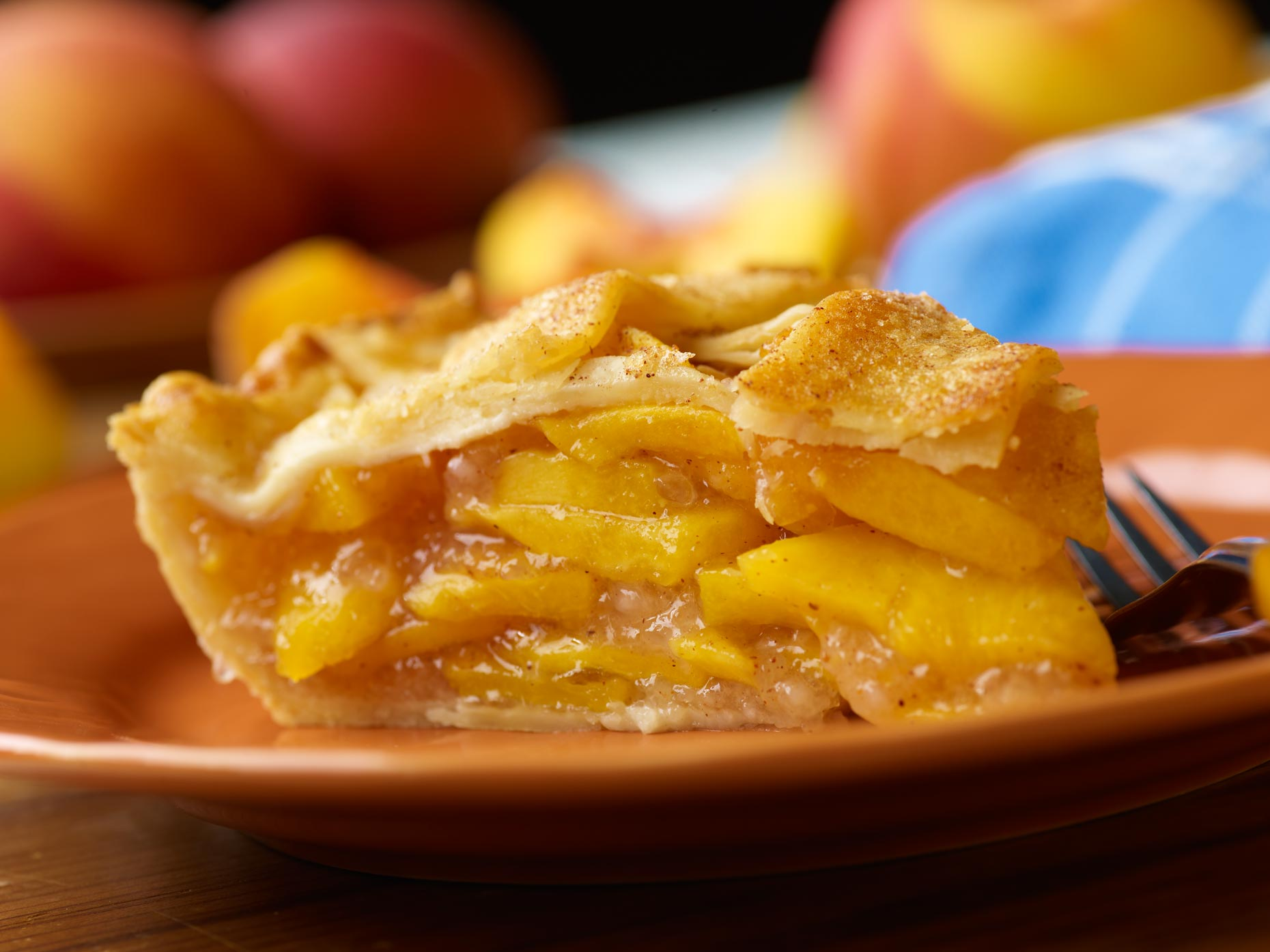 Dessert Photography | Slice of Peach Pie