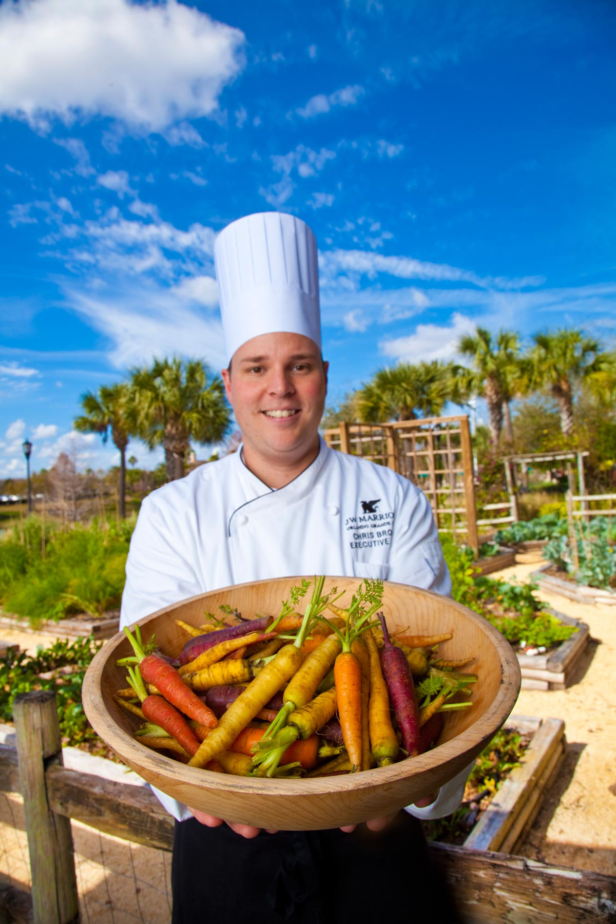 Chef & Restaurant Photography | J W Marriott Chef in Garden