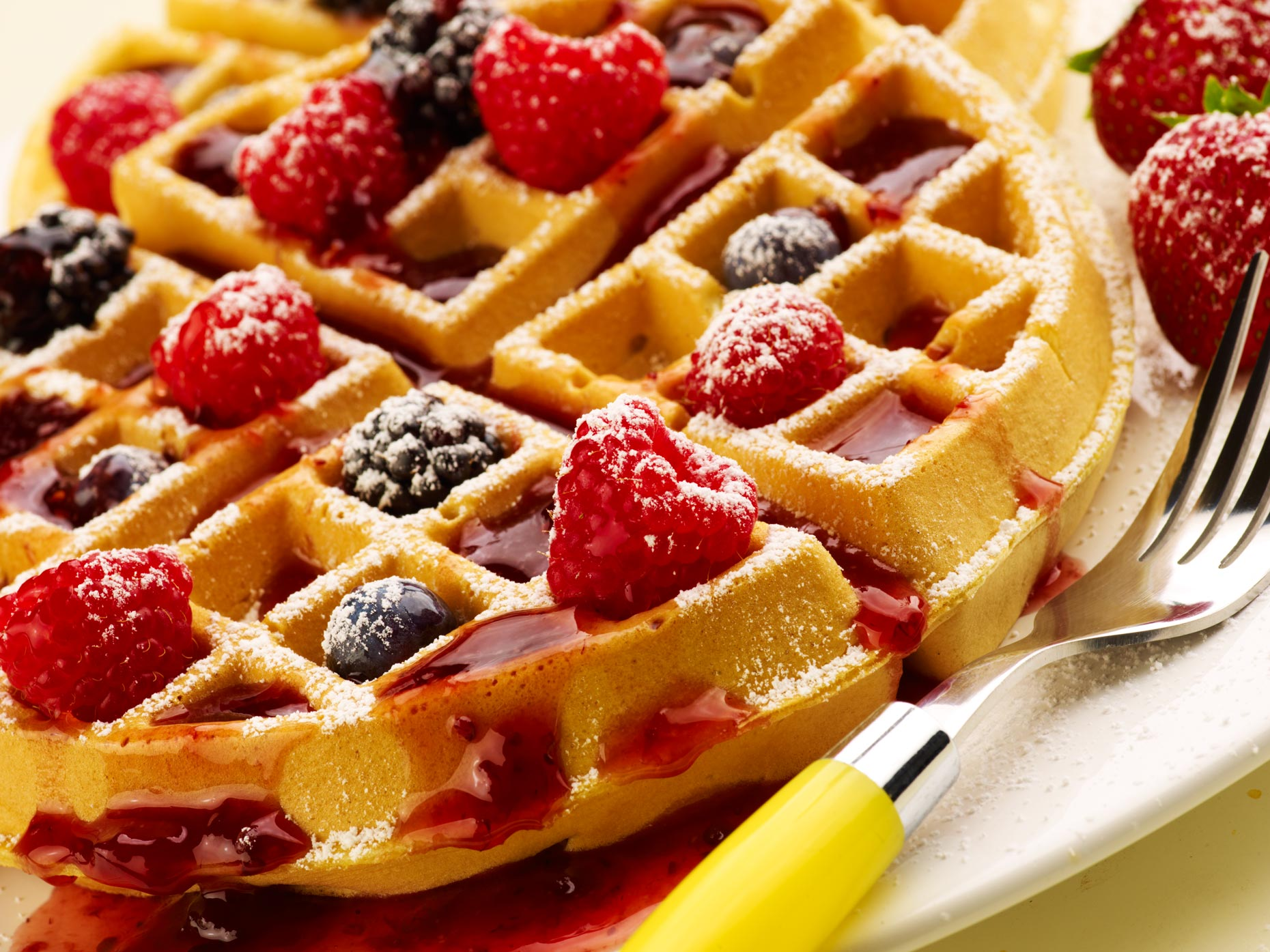 Waffles with berries | Food Photography
