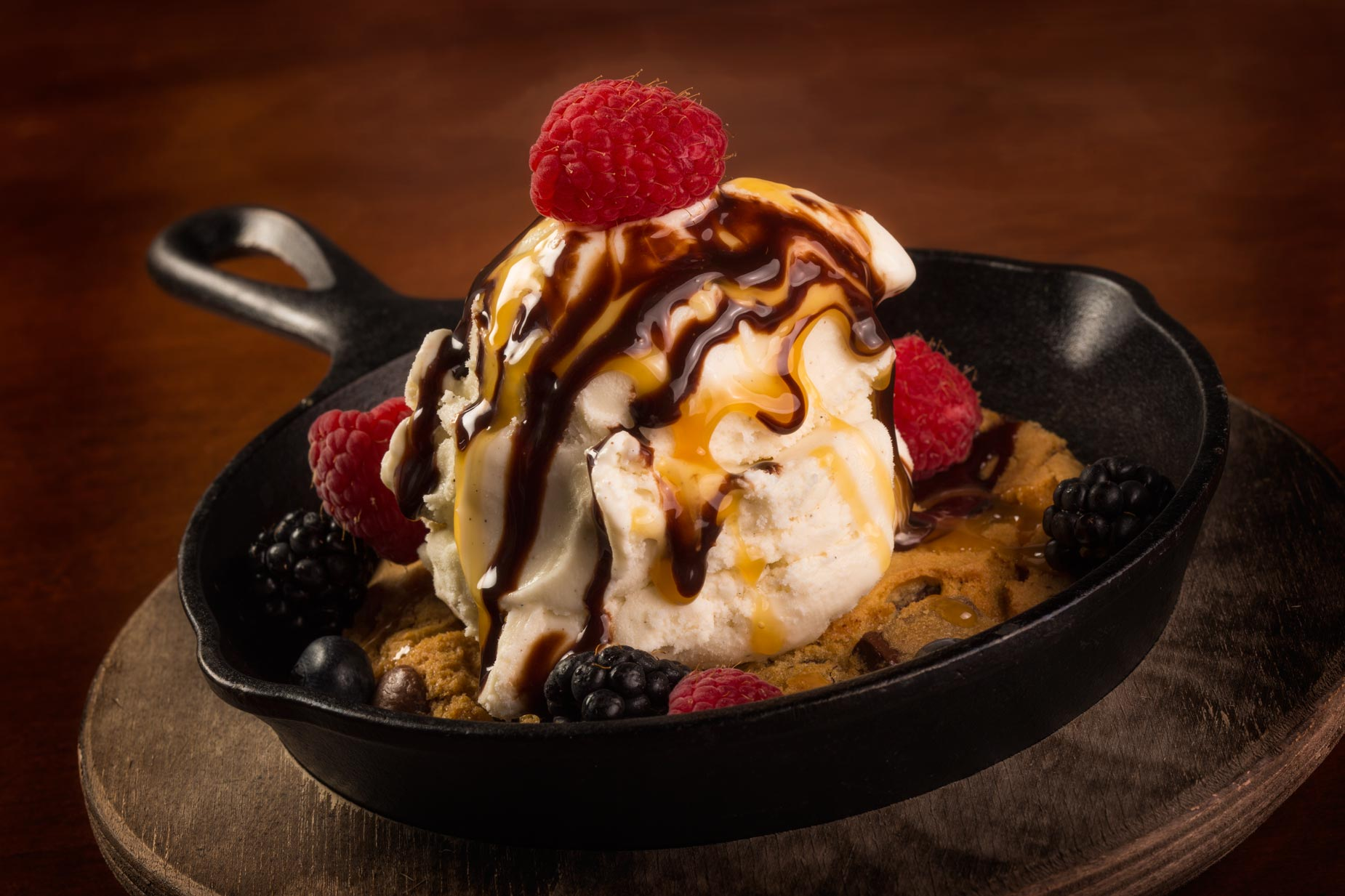 Dessert Photography | Ice Cream Sundae in Frying  Pan