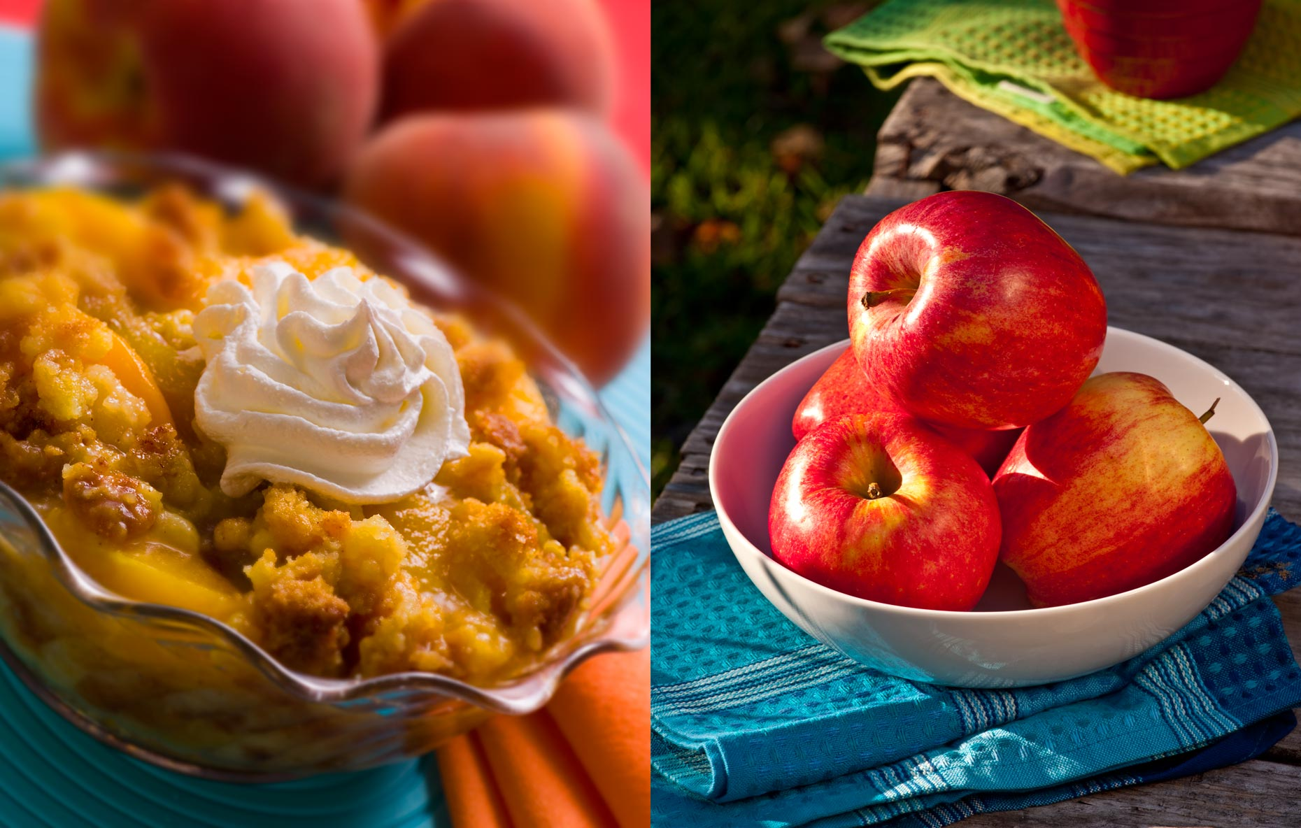 Dessert Photogrpahy | Peach Cobbler & Red Apples