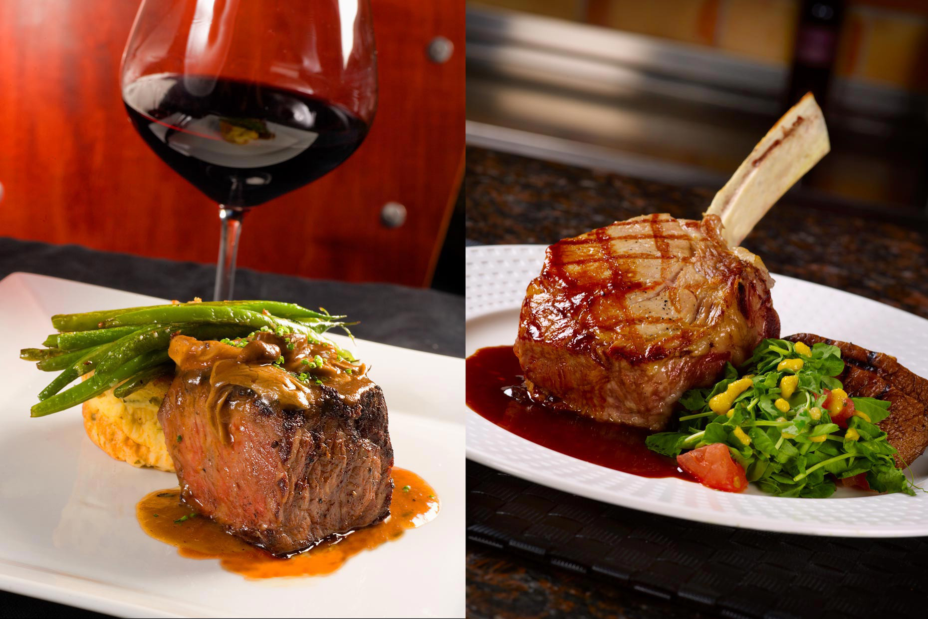 Food & Beverage Photographer | Steak Wine & Vegetables