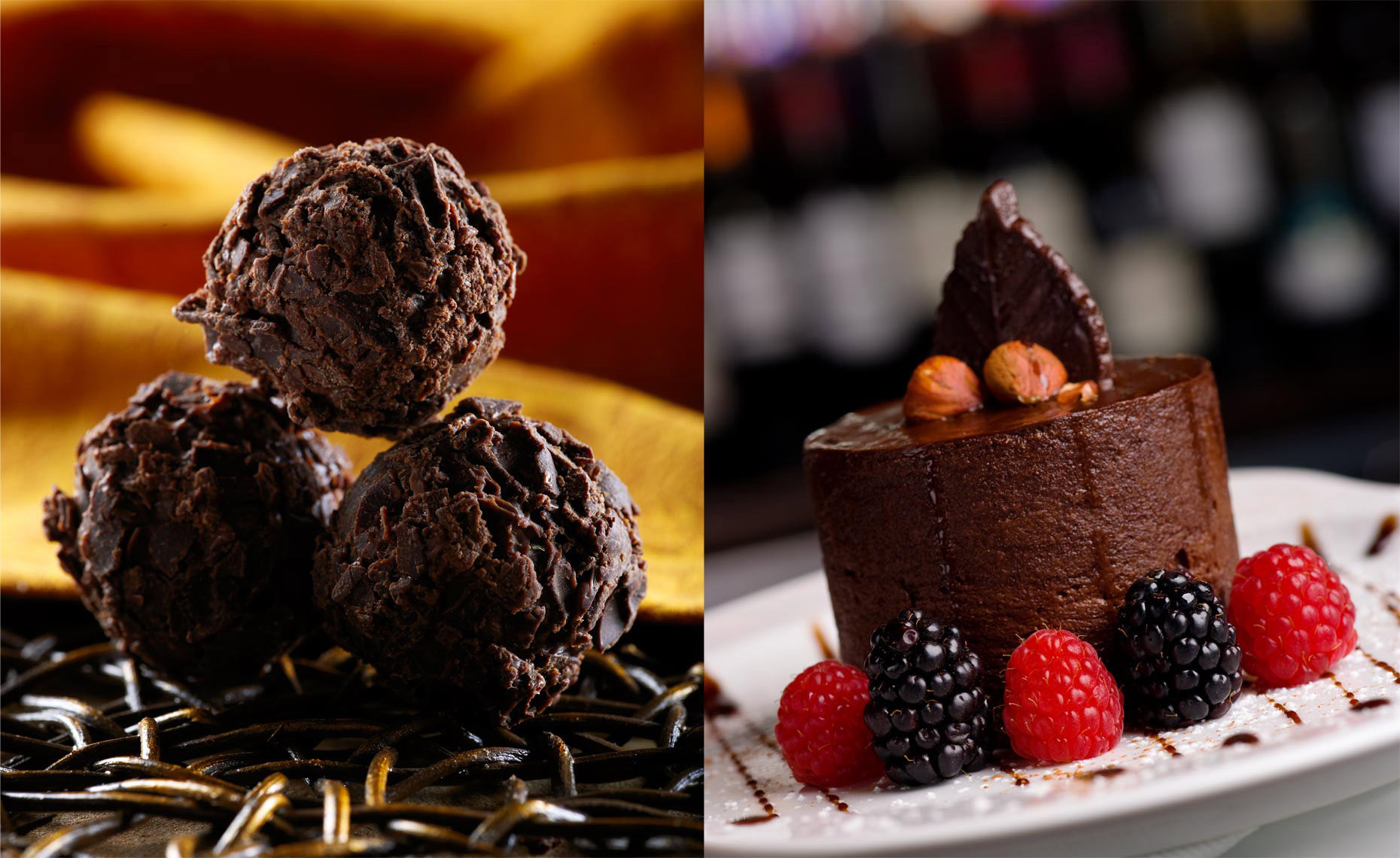 Dessert Photography | Chocolate Rum Balls & Dessert with Berriesjpg