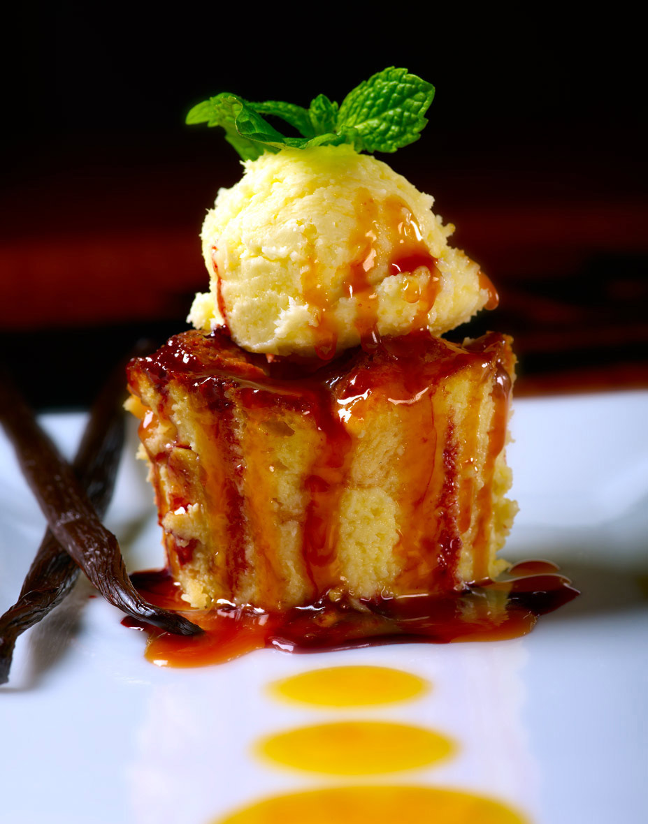 Dessert Photography | Bread pudding & ice cream dessert
