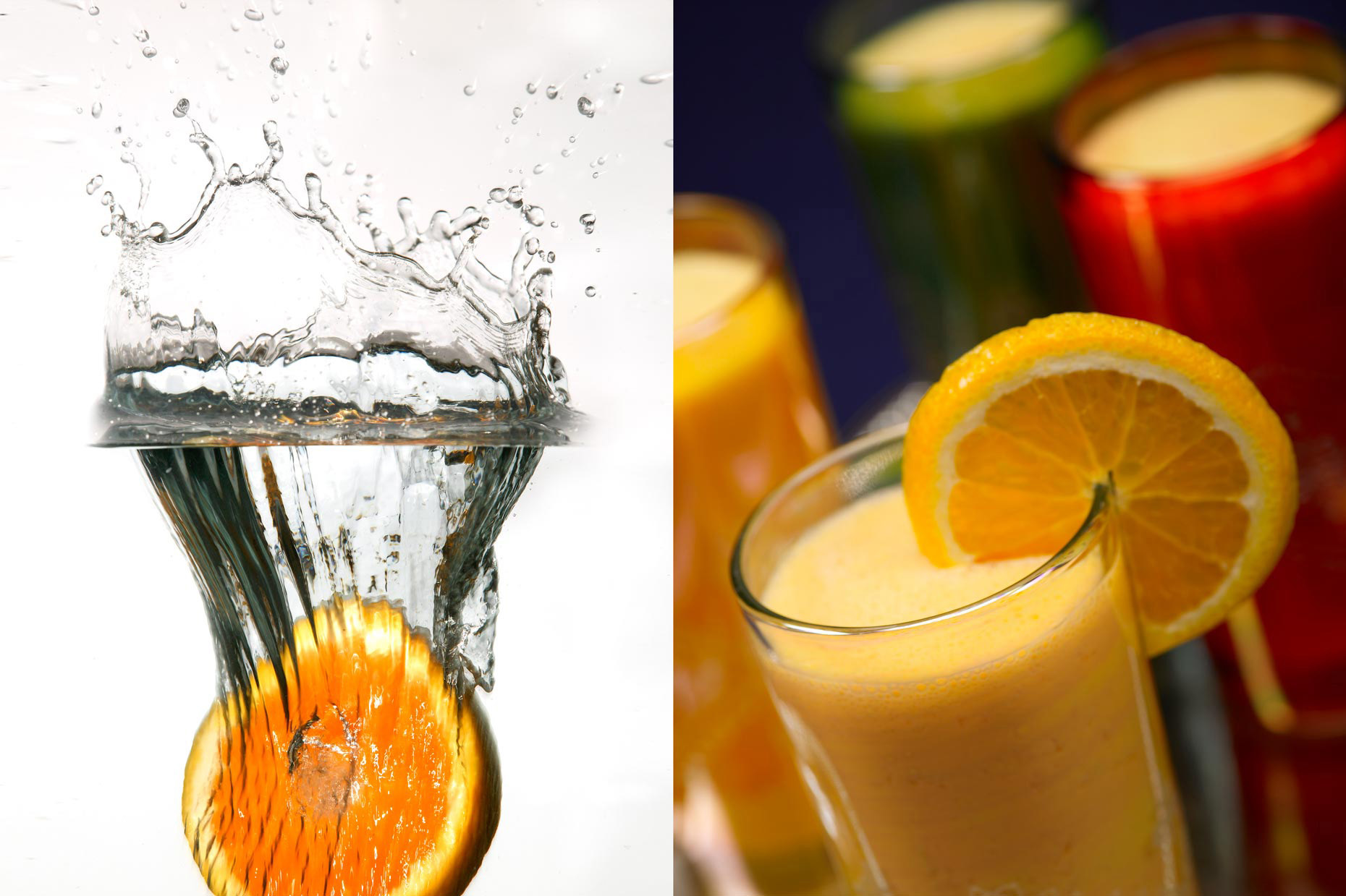 Beverage Photography | Orange Slice Splash & Citrus Beverages