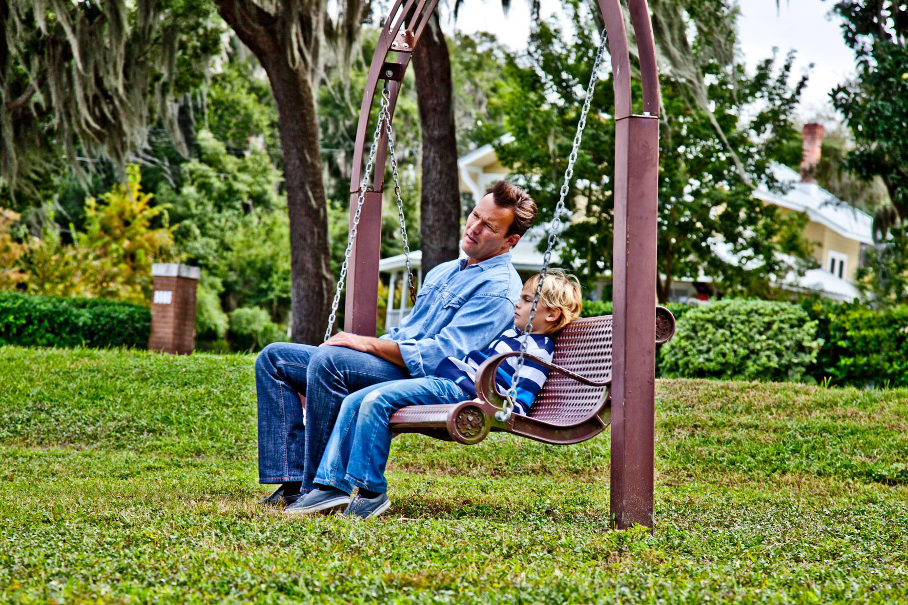 Lifestyle Photography | Dad & Son On Bench Relaxing