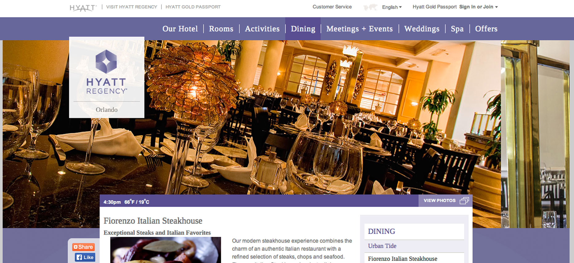 Fiorenzo Italian Steak House | Hyatt Regency Hotel Orlando