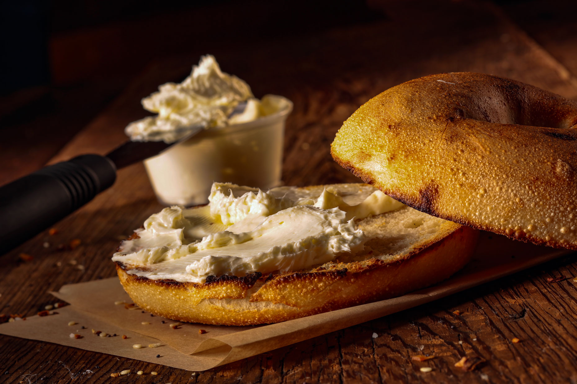 Food Photography | Bagel and Cream Cheese